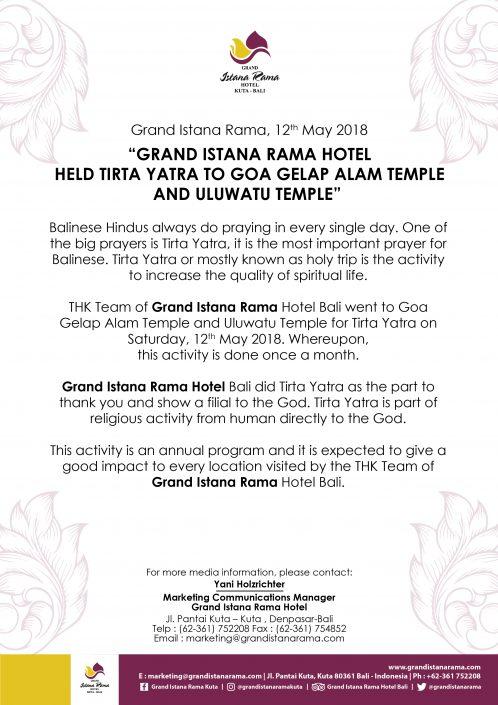 Press Release Grand Istana Rama Hotel Bali